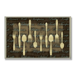 Stupell Industries - Fork, Spoon, Knife Cream Kitchen Wall Plaque - Made in USA. Ready for Hanging. Hand Finished and Original Artwork. No Assembly Required. 10 in L x 0.5 in W x 10 in H (2 lbs.)What better way to add class to your home than with a wall plaque from the Stupell Home Decor Collection? Made in the USA and featuring original artwork,you are sure to find the perfect match for wherever you are looking to design. Each plaque comes mounted on sturdy half inch thick mdf and features hand painted edges.  It also comes with a sawtooth hanger on the back for instant use.