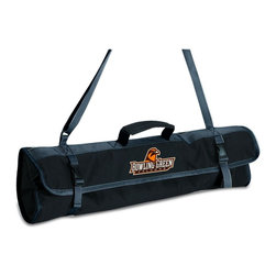 Picnic Time - Bowling Green State University 3-piece BBQ Tote in Black - The 3-piece BBQ Tote by Picnic Time includes the tools you need to prepare your barbecue feast all in one convenient fold and go carry tote. The 3-piece set comes in a durable black polyester carry tote with adjustable shoulder strap. All 3 tools have beautiful wood handles and are made of stainless steel with extra long handles to keep your hands away from the heat and have loop cords at the ends of their handles so you can hang them from your barbecue. It makes a thoughtful and useful gift for those who enjoy barbecues, picnics, and camping. ; College Name: Bowling Green State University; Mascot: Falcons; Decoration: Digital Print; Includes: 1 Spatula, 1 Fork, 1 Tongs, 1 Tote