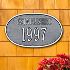 "Oval ""Established"" Plaque - Simple and prestigious, this plaque is a novel way to celebrate a new home or business or to indicate historic status. A classy addition to any exterior, high quality aluminum and weather resistant paint make this a long lasting, worthy investment."