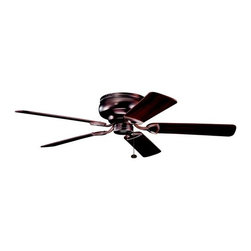 Kichler Lighting - Kichler Low Profile 52-Inch Ceiling Fan with Five Blades - 339022OBB - Hugger style ceiling fan to mount flush to the ceiling for a low profile. Pull chain control with 3 speeds forward and reverse. Optional light kits and wall or remotes controls are available by special order. UL listed. Dry location rated.