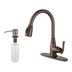 Kraus - Kraus Single Lever Pull Out Kitchen Faucet and Soap Dispenser Oil Rubbed Bronze - *Update the look of your kitchen with this multi-functional Kraus pull-out faucet