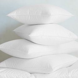 Garnet Hill - Garnet Hill Signature White Down Pillow - Continental - Lofty but not too big, this bed pillow is the perfect balance of soft and firm, making it ideal for back and side sleepers. Part of the Garnet Hill Signature Bedding Essentials Collection.  Medium support cradles the natural curvature of the spine to position and support the head and neck. Pillow is filled with superior-quality white down (600-650 fill power). Self-piped edges.
