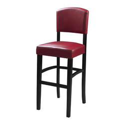 "Linon - Linon Monaco 24 Inch Dark Red Stool in Espresso - Linon - Bar Stools - 0217RED01KDU - The 24"" Monaco Counter Stool features a rich, dark espresso finished frame. Great for homes with a modern or contemporary vibe, this stool also has a padded Ox Blood red vinyl seat and back. The legs are slightly tapered for a more elegant look, while the four foot rails provide stability and comfort. This stool is durable enough for a busy kitchen, yet elegant enough for a more formal setting."
