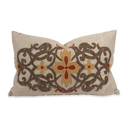 IMAX CORPORATION - IK Amena Embroidered Pillow with Down Insert - IK Amena Embroidered Pillow w/ Down Insert. Find home furnishings, decor, and accessories from Posh Urban Furnishings. Beautiful, stylish furniture and decor that will brighten your home instantly. Shop modern, traditional, vintage, and world designs.
