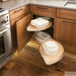 KraftMaid: Base Blind Corner with Chrome Swing-Out - This storage solution swings all of the cabinet's contents toward you so it's easy to get kitchenware out of tight corners. The stylish chrome rails and soft-close feature keep everything in its place.