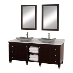 Wyndham Collection - Eco-Friendly Bathroom Vanity with Black Granite Sinks - Includes natural stone counter, backsplash, two vessel sinks and matching mirror. Faucets not included. Engineered to prevent warping and last a lifetime. Highly water-resistant low V.O.C. finish. 12 stage wood preparation, sanding, painting and finishing process. Floor standing vanity. Deep doweled drawers. Fully extending bottom mount drawer slides. Soft close concealed door hinges. Single hole faucet mount. Plenty of storage space. Brushed steel leg accents. Metal hardware with brushed chrome finish. Two doors and six drawers. White Carrera marble top. Made from zero emissions solid oak hardwood. Espresso finish. Vanity: 72 in. W x 22.5 in. D x 36 in. H. Mirror: 24.25 in. W x 36.25 in. H. Handling InstructionsCutting edge, unique transitional styling. A bridge between traditional and modern design, and part of the Wyndham Collection Designer Series by Christopher Grubb, the Premiere Single Vanity is at home in almost every bathroom decor, resulting in a timeless piece of bathroom furniture.
