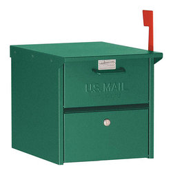 Salsbury Industries - Salsbury Green 4300 Roadside Mailbox - This Salsbury mailbox is made entirely of aluminum and is USPS-approved. The 4300 series mailbox features both front and rear access locking door.