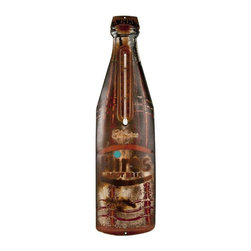 Used Vintage Hires Root Beer Advertising Thermometer - The heat is ON with this vintage die cut Hires Root Beer tin bottle thermometer.  It is in vintage found condition with new working thermometer.  Hang it in the kitchen for some rustic patina!