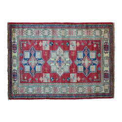 Area Rug, 3'X5' Tribal High Quality Kazak Hand Knotted 100% Wool Rug SH11166 - This collections consists of well known classical southwestern designs like Kazaks, Serapis, Herizs, Mamluks, Kilims, and Bokaras. These tribal motifs are very popular down in the South and especially out west.