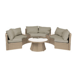 "Reef Rattan - Reef Rattan 6 Piece Curved Bench Sofa Set - Natural Rattan / Taupe Cushions - Reef Rattan 6 Piece Curved Bench Sofa Set - Natural Rattan / Taupe Cushions. This patio set is made from all-weather resin wicker and produced to fulfill your needs for high quality. The resin wicker in this patio set won't fade, shrink, lose its strength, or snap. UV resistant and water resistant, this patio set is durable and easy to maintain. A rust-free powder-coated aluminum frame provides strength to withstand years of use. Sunbrella fabrics on patio furniture lends you the sophistication of a five star hotel, right in your outdoor living space, featuring industry leading Sunbrella fabrics. Designed to reflect that ultra-chic look, and with superior resistance to the elements in a variety of climates, the series stands for comfort, class, and constancy. Recreating the poolside high end feel of an upmarket hotel for outdoor living in a residence or commercial space is easy with this patio furniture. After all, you want a set of patio furniture that's going to look great, and do so for the long-term. The canvas-like fabrics which are designed by Sunbrella utilize the latest synthetic fiber technology are engineered to resist stains and UV fading. This is patio furniture that is made to endure, along with the classic look they represent. When you're creating a comfortable and stylish outdoor room, you're looking for the best quality at a price that makes sense. Resin wicker looks like natural wicker but is made of synthetic polyethylene fiber. Resin wicker is durable & easy to maintain and resistant against the elements. UV Resistant Wicker. Welded aluminum frame is nearly in-destructible and rust free. Stain resistant sunbrella cushions are double-stitched for strength and are fully machine washable. Removable covers made with commercial grade zippers. Tables include tempered glass top. 5 year warranty on this product. Curved Bench (3): W 66"" D 35"" H 30"", Side Table (2): W 20"" D 30"" H 20"", Round Coffee Table: W 38"" D 38"" H 18"""