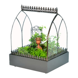 H Potter - H Potter Wardian Case / Terrarium - Angled Roof - If you don't have land, lots of land under starry skies above, you might want to fence your plants in this compact garden. It features arched glass windows and decorative trim on the peak and around the perimeter. Turn loose your green thumb.