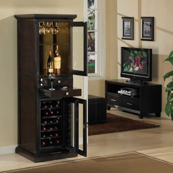 "Tresanti - Meridian 18 Bottle Wine Cabinet - Features: -Wine cabinet.-High quality birch veneers and rubber wood solids.-18 Bottle dual zone thermoelectric wine cooler.-Upper zone holds six bottles at 45 to 54 degrees F.-Lower zone holds twelve bottles at 54 to 65 degrees F.-Display area with mirrored back panel and interior lighting.-Pull-out, granite top work surface and tempered glass shelf.-Full extension drawer.-Stemware rack.-Lower locking doors.-Contemporary style.-Espresso finish.-Product Type: Wine cabinet.-Finish: Espresso.-Hardware Finish: Brushed nickel.-Distressed: No.-Powder Coated Finish: No.-Material: Wood, MDF, veneer.-Hardware Material: Metal ball bearings / Metal hinges.-Scratch Resistant: No.-Tarnish Resistant: No.-Mount Type: Floor standing.-Wine Bottle Capacity: 18.-Number of Drawers: 2.-Number of Cabinets: 1.-Number of Doors: 2.-Lockable: Yes.-Handle Design: Knobs.-Shelves Included: Yes -Number of Interior Shelves: 2.-Adjustable Shelves: Yes..-Lighted: Yes -Number of Lights: 2.-Adjustable Light: Yes.-Light Control: Touch lighting.-Bulb Type: LED.-Bulb Included: Yes..-Plug-In: Yes.-Removable Serving Tray Included: No.-Ice Bucket Included: No.-Wine Glass Storage Included: Yes -Wine Glass Capacity: 6..-Glasses Included: No.-Adjustable Levelers: No.-Stackable: No.-Foldable: No.-Removable Bottle Racks: Yes.-Commercial Grade Welding: No.-Bottle Size Compatibility: 750 ml.-Weight Capacity: 75 lbs.-Outdoor Use: No.-Commercial Use: Yes.-Recycled Content: No.-Eco-Friendly: No.-Product Care: Wipe clean with a dry cloth.-Gloss Finish: Yes.-Solid Wood Construction: No.-Door Attachment Detail: Hinges.-Refrigerated Cabinet: Yes -Refrigerated Cabinet Temperature Range: 45 - 65 degrees F..-Mirrored Back: Yes.Specifications: -UL Listed: No.-cUL Listed: No.-ISTA 3A Certified: No.-ISO 9000 Certified: No.-ISO 14000 Certified: No.Dimensions: -Overall Height - Top to Bottom: 70"".-Overall Width - Side to Side: 24"".-Overall Depth - Front to Back: 23"".-Shelves: Yes.-Drawers: -Drawer Height -Top to Bottom (Top Drawer) : 2.25"".-Drawer Height -Top to Bottom (Work Surface Drawer) : 1"".-Drawer Width - Side to Side (Top Drawer) : 14.25"".-Drawer Width - Side to Side (Work Surface Drawer) : 14.25"".-Drawer Depth - Front to Back (Top Drawer) : 10"".-Drawer Depth - Front to Back (Work Surface Drawer) : 16""..-Cabinets: -Cabinet Height - Top to Bottom: 26.25"".-Cabinet Width - Side to Side: 16.75"".-Cabinet Depth - Front to Back: 18.75""..-Cord Length: 72"".-Overall Product Weight: 208.5 lbs.Assembly: -Assembly Required: No.-Additional Parts Required: No.Warranty: -Product Warranty: 1 year limited warranty."