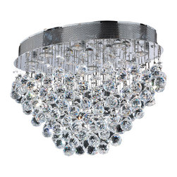 Worldwide Lighting - Icicle 8 Light Chrome Finish with Rain Drop Crystal Ceiling Light Flush Mount - This stunning 8-light Ceiling Light only uses the best quality material and workmanship ensuring a beautiful heirloom quality piece. Featuring a radiant chrome finish and finely cut premium grade crystals with a lead content of 30%, this elegant ceiling light will give any room sparkle and glamour. Worldwide Lighting Corporation is a premier designer manufacturer and direct importer of fine quality chandeliers, surface mounts, and sconces for your home at a reasonable price. You will find unmatched quality and artistry in every luminaire we manufacture.