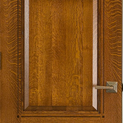 Craftsman Doors - Quartersawn White Oak Solid Wood 3-panel Door - Here is a gorgeous craftsman style 3-panel doors made from solid quartersawn white oak hardwood. This door features routered inlays around the panels and square walnut pegs for added decoration. The stain and finish makes this door look amazing!