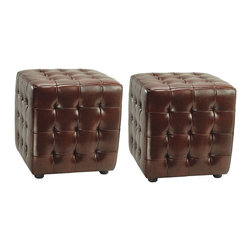 Safavieh Furniture - Kristof 15 in. Ottoman - Set of 2 - Set of 2. Made from leather. Cordavan color. No assembly required. 15 in. W x 15 in. D x 15 in. H (26 lbs.)Complete your home decor with a set of safavieh kristof ottomans