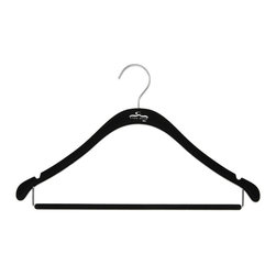Clos-ette Too - The Signature Slim Shirt Hanger w/ Bar, Black w/ Chrome - Our Signature Slim Shirt Hangers with Bar are flocked in a velvety non-slip material, ensuring your garments stay put. A skinny, 1/5 profile is thin enough to save space, but durable enough to handle the heaviest clothing. And because we use the highest quality composites and fabric, our clothing hangers never snap, unlike other brands on the market. We guarantee youll find our hangers to be longer lasting and better for your clothes than the competition. Multi-use design ideal for pants, shirts, blouses, dresses, and spaghetti-strap garments. Rounded, flocked bar for creaseless, non-slip hanging. Rounded shoulders preserve garment shape. 18 width and super-durable composition stands up to heavy and broad-shouldered garments as well as any wooden hanger. Shorter vertical drops maximize vertical space in your closet.