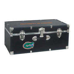 Seward Trunk - University of Florida Storage Trunk - Officially licensed. Front center key lock. One handle on the front. Paper lined to help protect interior contents. Screen printed logo. Heavy gauge vinyl. Nickel hardware and trim. Made from wood. Black finish. Made in USA. 30 in. L x 15.75 in. W x 12.25 in. H (18 lbs.)Storage you can show off!!!