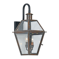 Quoizel Lighting - Quoizel RO8411AC Rue De Royal 2 Light Outdoor Wall Light, Aged Copper - Long Description: From the Charleston Copper Lantern Collection, this piece gives you the historic look of gas lighting, but without the hassle of a propane feed. It is all electric, solid copper and hand riveted, giving your home the romantic, reproduction style of antique gas lights still popular today on many of the charming homes in New Orleans and Charleston.