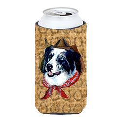 Caroline's Treasures - Australian Shepherd Dog Country Lucky Horseshoe Tall Boy Koozie Hugger - Australian Shepherd Dog Country Lucky Horseshoe Tall Boy Koozie Hugger Fits 22 oz. to 24 oz. cans or pint bottles. Great collapsible koozie for Energy Drinks or large Iced Tea beverages. Great to keep track of your beverage and add a bit of flair to a gathering. Match with one of the insulated coolers or coasters for a nice gift pack. Wash the hugger in your dishwasher or clothes washer. Design will not come off.