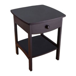 "Winsome - ""Winsome Wood End Table/Night Stand with Drawer & Shelf, Black"" - ""Combining solid/composite wood construction with a tidy and practical style, this versatile end table/night stand makes a fresh and clean addition to the room. The oversized tabletop features a straight-edged square shape, while below the four rectangular legs host a deep storage drawer and open shelf. For subtle flair, the drawer front and lower side rails are sculpted with a wide curve that softens the table's overall look. Also notice how the wood nailhead accents and a simple drawer pull offer a tailored finish. Classic enough to stay in style no matter how the furnishings around it change, this table comes in four handsome finishes: Natural, Walnut, Black, and White. It measures 18 inches in diameter by 22 inches high. Insider drawer dimension is 12""""W x 13.78""""D x 2.32""""H. Shelf is 13.31W x 14.88D. Clearance from bottom of drawer to shelf is 9.33"""". --Kara KarllDimensions (W x L x H): 18"""" x 18"""" x 22""""Weight: 18 lbs.Classic, clean-lined end table/night stand offers casual styleCrafted of solid beechwood; wood nailhead accentsSimple carved rails complement roomy storage drawer and open shelfSome assembly required; measures 18 inches in diameter by 22 inches highAvailable in Natural, Walnut, Black, or White"""