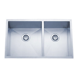 """Dowell - Dowell 33"""" x 20"""" Undermount Handcrafted Double Bowl Sink - 18/16 Gauge, 304 Series Stainless Steel"""