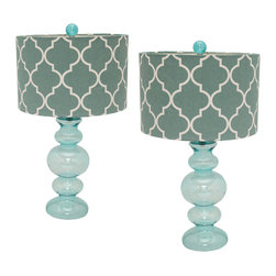 "ecWorld - Urban Designs Polar Blue Glass 26"" Table Lamp with Shade - Set of 2 - These table lamps are feature a jar clear base with a beautiful stunning trellis patterned shade. Ideal to uplift any room decor."