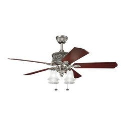 "Kichler - 52"" Corinth 52"" Ceiling Fan Antique Pewter - Kichler 52"" Corinth Model KL-300161AP in Antique Pewter with Cherry Finished Blades."