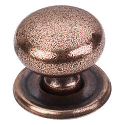 "Top Knobs - Victoria Knob 1 1/4"" w/Backplate - Old English Copper - Length - 1 1/4"", Width - 1 1/4"", Projection - 1 1/4"", Base Diameter - 1 3/8"""