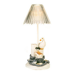 """Seagull Candle Holder - The seagull candle holder measures 9.25"""" x 4"""". This candle holder features a seagull sitting on pilings that are wrapped in fisherman's rope. It will add a definite nautical touch to whatever room it is placed in and is a must have for those who appreciate high quality nautical decor. It makes a great gift, impressive decoration  will be admired by all those who love the sea."""