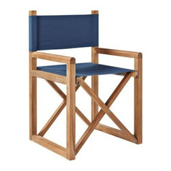 Serena & Lily - Director's Chair Pacific Blue - Beachy and just casual enough, this is one of those simple, classic designs that never goes out of style. Even better? It's outfitted with Sunbrella all-weather fabric to repel water, resist mildew and endure sun, heat and rain without fading. Over time, the solid teak frame will take on a silvery grey patina, giving your chair a warmth that's full of character. Folds up easily for storage.