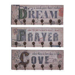 """Benzara - Metal Wall Hooks 3 Assorted 24""""W, 9""""H - Size: 24 Wide x 1 Depth x 9 High (Inches) each of three ; Material: Premium grade metal alloy ; Color: Shabby brown with different color tones touch ; Purposeful metal wall decor; Versatile because of inspiring quotes; Long lasting; Great utility; Perfect affordable gift"""