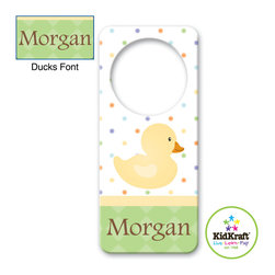 Kidkraft - Kids Duck Door Hanger From Vistastores - Can be personalized with any name up to 9 characters in length. All lower case, Font, color and graphic art only as shown, Fits any standard door knob, Reverse side is blank.