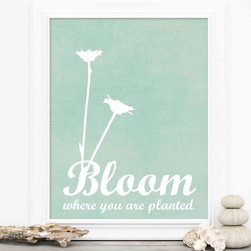 "Hairbrained Schemes - Bloom Where You are Planted Flower Art Print, Aqua - This print is 8x10"" unmatted and unframed. Printed with premium fade-resistant inks on high quality Epson luster archival paper. Carefully packed in a protective sleeve and shipped in a sturdy cardboard mailer to prevent damage. Colors may vary slightly different than displayed on your monitor."