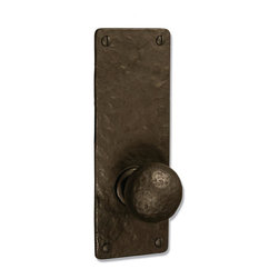 """Coastal Bronze 110 Series Solid Bronze Passage/Privacy Door Handleset - Medium S - The Coastal bronze 110 Series Solid Bronze Passage/Privacy Door Handleset features a medium 8"""" x 2 3/4"""" square plate with your choice of lever, knob or ring turn. Each is a perfect blend of craftmanship in traditional and contemporary design to complement any decor. A living patina finish, the metallic bronze hardware darkens to an old-penny brown then eventually to a greenish/blue patina when exposed to the elements."""