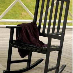 """Eucalyptus Black Outdoor Rocking Chair - As outdoor furniture gets more and more elaborate, you really can't even top a pair of good old-fashioned wooden rocking chairs. Is there a better way to watch the world go by than rocking with a loved one on the front porch in one of these? Eucalyptus wood construction.Black lacquer polyurethane finish.44"""" high x 27"""" wide x 31"""" deep."""
