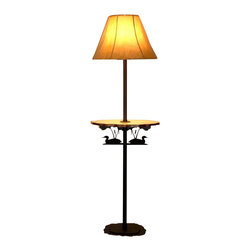 "Wildlife Decor LLC - Rustic Floor Lamp with Pine Shelf, Rust, Loon with Cattails - Rustic floor lamp comes with pine shelf and 3-way switch rated to 150 watts. The heavy double 3/16"" thick base with 4 metal feet/glides measures 12"" wide and 9.5"" deep to add stability to the lamp. The overall height of the lamp is 59.5"". The shelf measures 18"" wide by 11"" deep and is 30.5"" from the floor. The shade is 15"" at the bottom, 5.5"" at the top and is 11.5"" high."