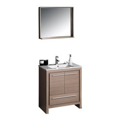 "Fresca - Fresca Allier 30"" Modern Bathroom Vanity - Grey Oak - The Fresca 30"" Allier is a sleek, modern free standing vanity with plenty of storage space. This model is accented nicely with a matching mirror with small shelf."