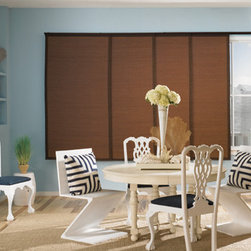 Woven Wood Sliding Panels - American Blinds recommends Bali Woven Wood Sliding Panels for covering patio doors, picture windows or closets. Also known as Panel Track, can be used as a great room divider.