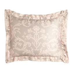 "Lili Alessandra - Lili Alessandra Mackie Standard Sham, 20"" x 26"" - These blush and taupe print linens can go in the washer. They only look and feel as if they're made of silk. Battersea quilted coverlets with mini ruffle are available in Taupe or Ivory; select color when ordering. Greek-key pillows are hand appliqued..."