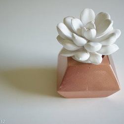 White Succulent Sculpture in Faceted Container by Waterstone Succulents - Plants always make for lovely gifts, especially if they never die. These little ceramic beauties come in a verity of colors and shapes. I'm in love!