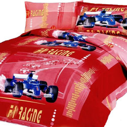Le Vele - Junior Car Racing, 4pc Duvet Cover Sheet Set Bed in gift box, Twin Size LE41T - Car Racing is featured on this colorful junior duvet cover set. Kids watch out of those racing cars in your bedroom they are just too much fun.