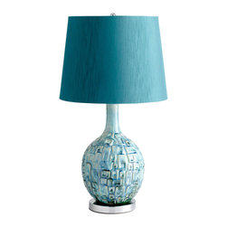 Kathy Kuo Home - Jordan Coastal Beach Aqua Turquoise Blue Modern Table Lamp - This mid-century modern lamp expresses an infectious sunny charm reminiscent of Lily Pulitzer or vintage Pucci patterns.  Crafted in brilliant shades of teal, this contemporary beauty would be right at home in Palm Beach or Palm Springs.