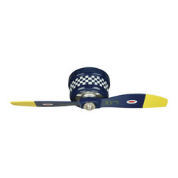 Craftmade - Craftmade WarPlanes Black Sheep Ceiling Fan - Craftmade WarPlanes Black Sheep Model CF-WB242BS2 in Blue with Black and White Checker Pattern with Blue with Yellow Tips Finished Blades.