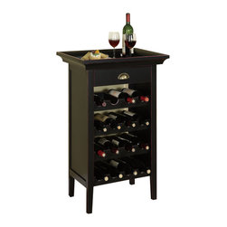 "Powell Furniture - Powell Furniture Black with Merlot Rub through Wine Cabinet - Powell Furniture - Wine Racks - 502426 - This Wine Cabinet is the perfect piece for a wine enthusiast. Crafted with black with ""Merlot"" rub through finish, this cabinet can properly store 16 bottles of wine. A single drawer is the perfect place to store wine tools and amenities. This cabinet also includes a removable tray that is perfect for carrying your drinks and snacks to another area of your home."