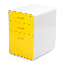 "Poppin - West 18th File Cabinet, White/Yellow - Add this one to the style file. Smooth, sexy powder-coated steel comes in pure white and several eye-popping colors and the sleek white even continues inside. It features two utility drawers with dividers and one hanging file drawer, all of which lock to keep your private files private — or your afternoon ""crash"" candy out of reach."