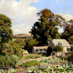 """Art MegaMart - George Spencer Watson The Cottage Garden - 21"""" x 28"""" Premium Canvas Print - 21"""" x 28"""" George Spencer Watson The Cottage Garden premium canvas print reproduced to meet museum quality standards. Our museum quality canvas prints are produced using high-precision print technology for a more accurate reproduction printed on high quality canvas with fade-resistant, archival inks. Our progressive business model allows us to offer works of art to you at the best wholesale pricing, significantly less than art gallery prices, affordable to all. We present a comprehensive collection of exceptional canvas art reproductions by George Spencer Watson."""