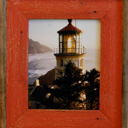 MyBarnwoodFrames - 8x10 Barnwood Picture Frame Lighthouse Red Distressed Wood Frame  Size - You  can't  beat  the  color  red  for  drawing  an  onlooker's  eye  to  the  art  or  photo  you  put  into  this  unique  barnwood  picture  frame.  We've  taken  reclaimed  wood  and  created  a  refurbished,  vintage  look  for  this  new  wood  frame.  Whether  you're  looking  for  something  to  highlight  the  look  or  your  country  photograph  or  whether  you  just  want  to  frame  your  favorite  lighthouse,  this  weathered  wood  photo  frame  gives  you  additional  color  and  texture  without  the  cost  of  a  mat.  Because  of  the  possible  variances  in  computer  monitor  colors  and  reclaimed  wood  colors,  your  completed  frame  may  vary  slightly  in  color  and  texture  from  the  one  you  see  pictured  here.                  Picture  opening  8x10,  finished  product  is  approximately  14x16              Rustic  wood  and  reclaimed  barnwood  picture  frame;              Sawtooth  hanging  hardware  included              Glass  and  cardboard  backing  included              Handcrafted  in  USA              Hangs  horizontally  or  vertically
