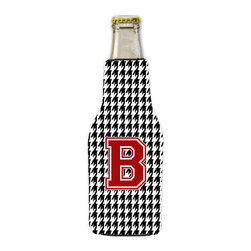 Caroline's Treasures - Houndstooth Black Letter B Monogram Initial Longneck Beer Hugger with Zipper - Fits 12 ounce longneck beer bottle. Collapsible koozie.  Black zipper sewn into the back of the hugger.  Design is on both sides.  Permanently dyed and fade resistant. Great to keep track of your beverage and add a bit of flair to a gathering.  Match with one of the insulated coolers or coasters for a nice gift pack.  Wash the hugger in your dishwasher or clothes washer.  Design will not come off.