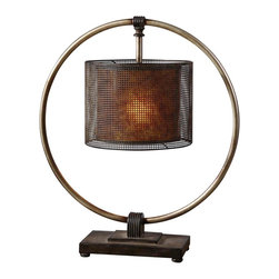 """Uttermost - Asian Uttermost Dalou Dark Bronze Table Lamp - A unique table lamp that's a cornucopia of color and texture. A rustic dark bronze finish with a rottenstone glaze adorns the stand and shade while the encircling ring is in antiqued silver. The shade is composed of pierced metal over a stained mica inner shade for a rich warm glow. A tantalizing lamp from Uttermost. Metal and mica construction. Dark bronze finish with rottenstone glaze. Antiqued silver ring. Dark bronze pierced metal shade. Mica inner shade. Takes one 100 watt bulb (not included). 27 1/2"""" high. Shade is 12 1/2"""" wide and 9 1/2"""" high. Base is 12"""" wide and 6"""" deep.  Metal and mica construction.   Dark bronze finish with rottenstone glaze.   Antiqued silver ring.   Dark bronze pierced metal shade.   Mica inner shade.   Takes one 100 watt bulb (not included).    27 1/2"""" high.   Shade is 12 1/2"""" wide and 9 1/2"""" high.   Base is 12"""" wide and 6"""" deep."""