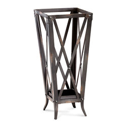 Hacienda Umbrella Stand - Let the cloudbursts come, let the day's downpours commence; you're umbrella will always be close at hand with the Hacienda Umbrella Stand. Crafted of crossed bands of umber-colored raw steel, the stand features gentle distressing that imparts an heirloom quality to the piece. An accessory both beautiful and practical that blends well with the appointments of your transitional mudroom, entryway, or foyer.